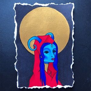 """Aries"" Zodiac Moon Spirit Art Print 5"" by 7"""